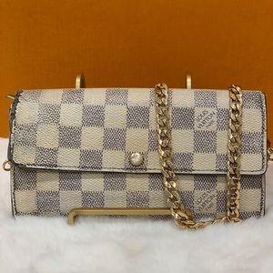 Auth Louis Vuitton Damier Azur Sarah Wallet